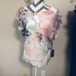 NWT Vince Camuto white and floral top - L